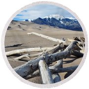 Great Sand Dunes National Park Driftwood Portrait Round Beach Towel