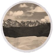 Great Sand Dunes Panorama 1 Sepia Round Beach Towel