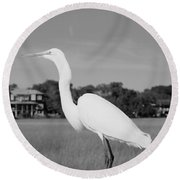 Great White Egret Black And White Round Beach Towel
