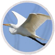 Great White Egret In Flight . 40d6845 Round Beach Towel