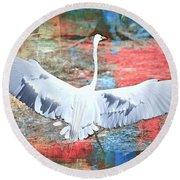 Great White Egret Landing Round Beach Towel