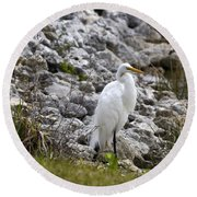 Great White Heron Race Round Beach Towel