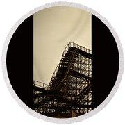 Great White Roller Coaster - Adventure Pier Wildwood Nj In Sepia Triptych 1 Round Beach Towel