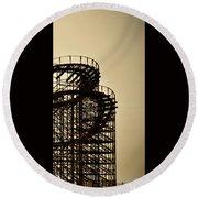 Great White Roller Coaster - Adventure Pier Wildwood Nj In Sepia Triptych 3 Round Beach Towel