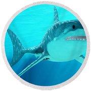 Great White Shark With Sunrays Round Beach Towel