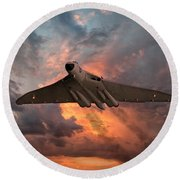 Great White Vulcan Round Beach Towel