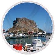 Greece Island Harbor Round Beach Towel