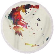 Greece Watercolor Map Round Beach Towel
