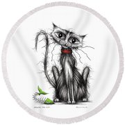 Greedy The Cat Round Beach Towel
