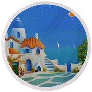 Greek Blue Santorini A Greek Fairytale Round Beach Towel