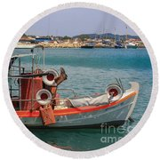 Greek Boat And Boots Round Beach Towel