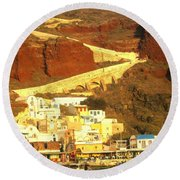 Greek Fishing Town Round Beach Towel