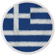 Greek Flag Smudged Round Beach Towel