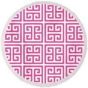 Greek Key With Border In French Pink Round Beach Towel