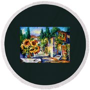 Greek Noon - Palette Knife Oil Painting On Canvas By Leonid Afremov Round Beach Towel