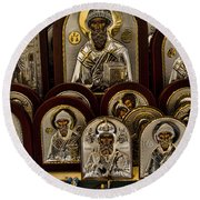 Greek Orthodox Church Icons Round Beach Towel