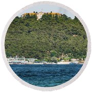 Greek Orthodox School And The Sea Of Marmara Round Beach Towel