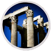 Greek Pillars Round Beach Towel