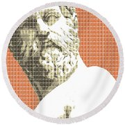 Greek Statue #1 - Orange Round Beach Towel
