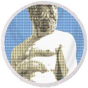 Greek Statue #2 - Blue Round Beach Towel
