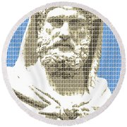 Greek Statue #3 - Blue Round Beach Towel