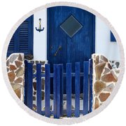 Greek Traditional House Round Beach Towel