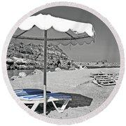 Greek Umbrella Round Beach Towel
