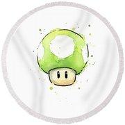 Green 1up Mushroom Round Beach Towel