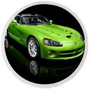 Green 2008 Dodge Viper Srt10 Roadster Round Beach Towel