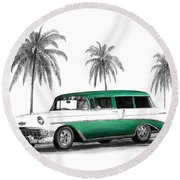 Green 56 Chevy Wagon Round Beach Towel