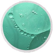 Green Abstract Of Oil Droplet.  Round Beach Towel