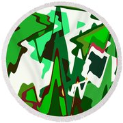 Green Abstract Squared #2 Round Beach Towel