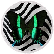 Green And Black Butterfly On Wavey Lines Round Beach Towel