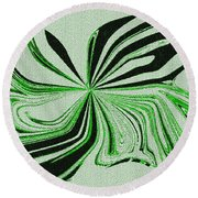 Green And Black Embroidered Butterfly Abstract Round Beach Towel