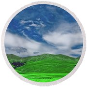 Green And Blue Landscape Round Beach Towel