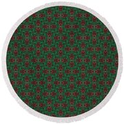 Green And Brown Chunky Cross Mirror Pattern Round Beach Towel