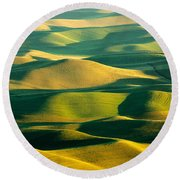 Green And Gold Acres Round Beach Towel