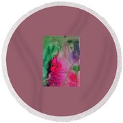 Green And Pink Round Beach Towel