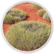 Green On Rusty Red Round Beach Towel