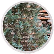 Green And Red - Cypress Branches Over Antique Roman Brick Wall Round Beach Towel