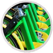 Green And Yellow Bicycles Round Beach Towel