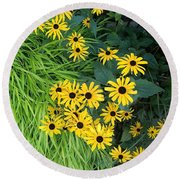 Green And Yellow Burst Round Beach Towel