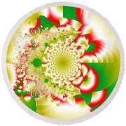 Green And Yellow Collide Round Beach Towel