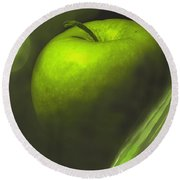 Green Apple Drama Round Beach Towel