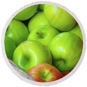 Green Apples Round Beach Towel