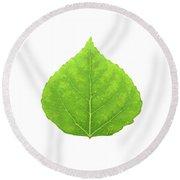 Green Aspen Leaf #11 Round Beach Towel
