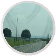 Green August Countryside Days Round Beach Towel