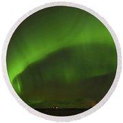 Green Aurora Borealis, Icelandic Sky Round Beach Towel