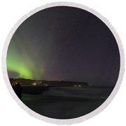 Green Aurora Borealis Over Iceland Round Beach Towel