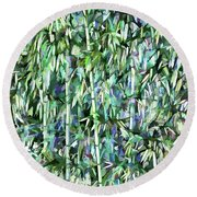 Green Bamboo Tree In A Garden Round Beach Towel